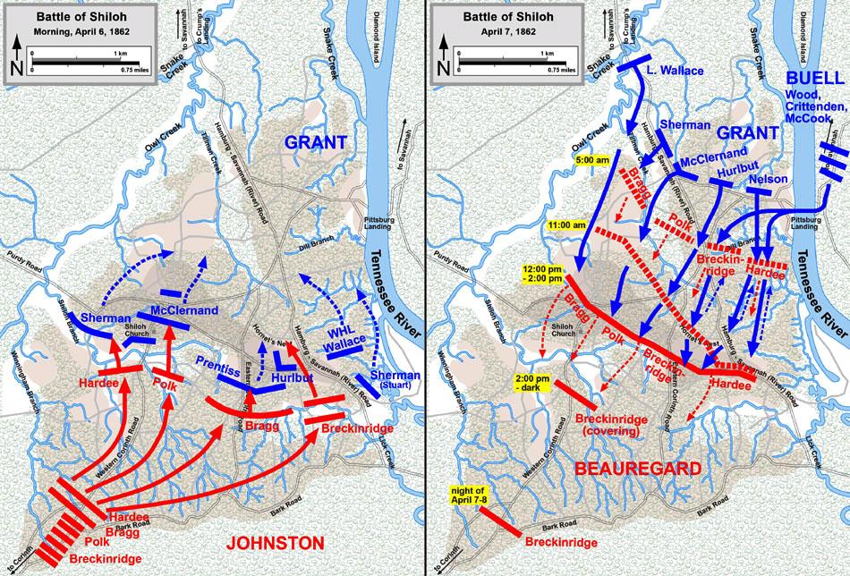 Карта-схема битвы у Шайло.