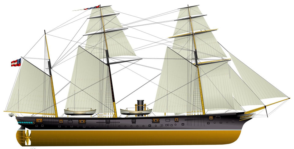 CSS Alabama-copper hull-gun ports open-1-mini