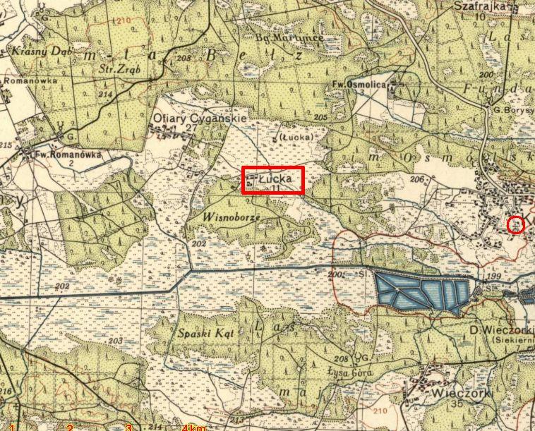 Хутір Луцьки на польській мапі.