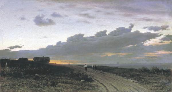 КЛОДТ (1832-1902). Вечерний вид в деревне