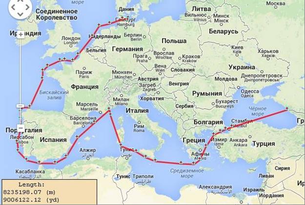 Маршрут вокруг Европы под парусами барка КРУЗЕНШТЕРН
