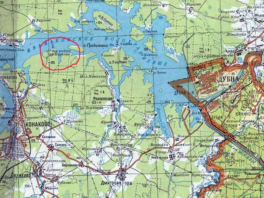 фрагмент топографической карты Тверской области