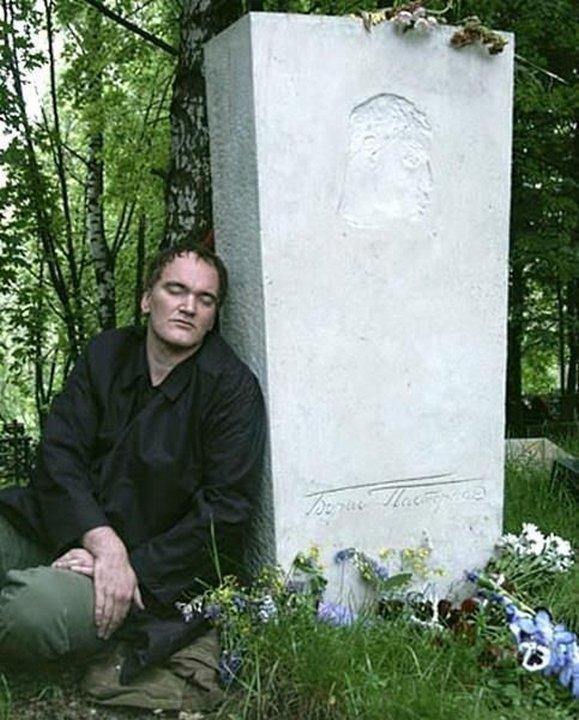 2004 год. Переделкино. Квентин Тарантино на могиле Бориса Пастернака