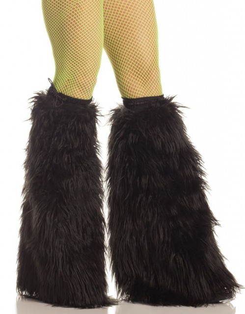 Black Fur Boot Covers