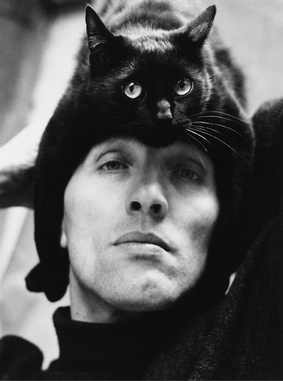 Herbert Tobias with his cat, 1962 - by Peter H.