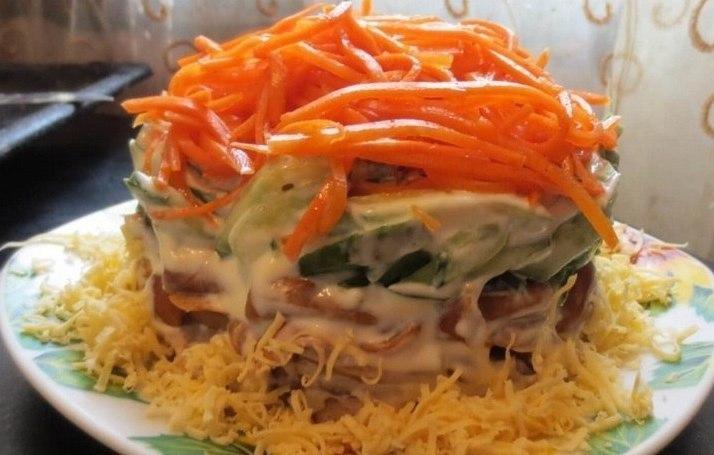 Салат с грибочками и корейской морковью