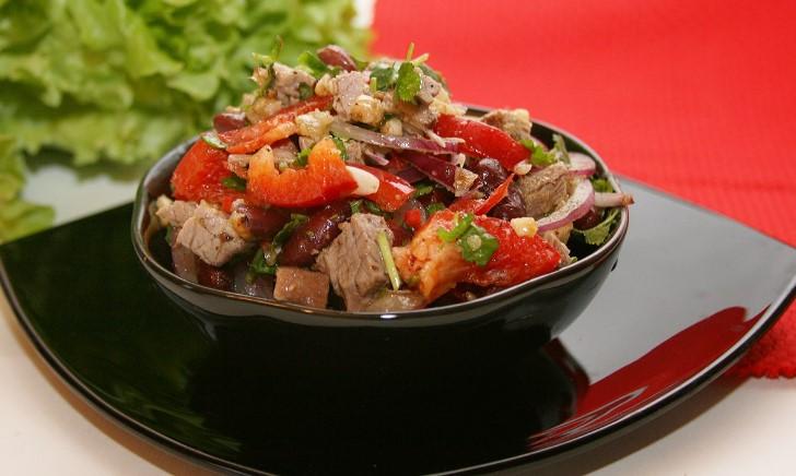 рецепт грузинского салата с говядиной и фасолью