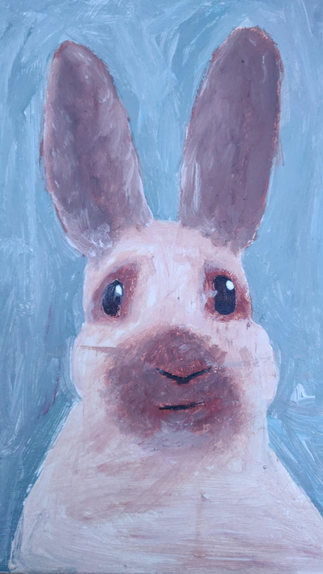 Зайчик-  наш тотемный зверь.У Саши целая коллекция. Сегодня на день рождения ему Анна ещё одного нарисовала.