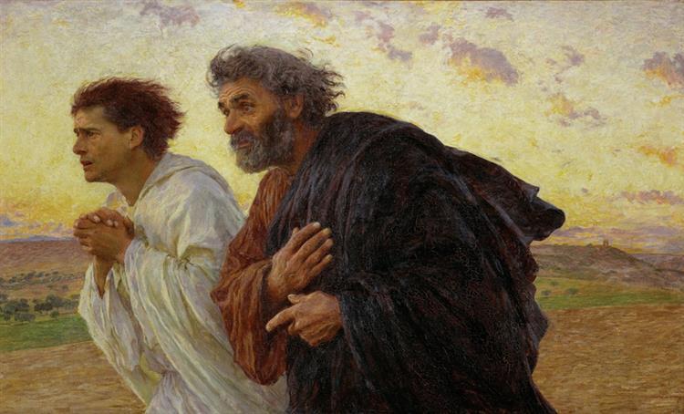 """А это тоже было рано утром. Ровно 1987 лет назад   ( 2020-33 я правильно посчитала?) Картина швейцарского художника Эжена Бернанда из музея Орсе.""""Ученики Петр и Иоанн бегут к гробнице в утро воскресения"""""""