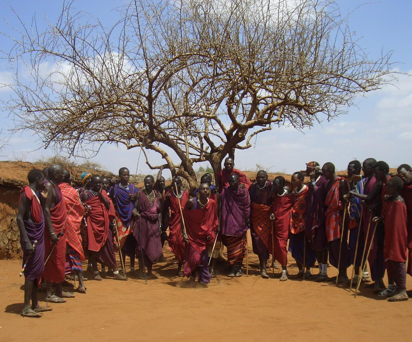 Конечно я понимаю, что уже 15 лет назад посещение масайской деревни имел налет туристического аттракциона. И мы заплатили деньги вождю за это. И это не этнографическое наблюдение.Но впечатления были незабываемыми.Жаркое нещадящее солнце. Жалкие акации не столько дающие тень, сколько мешающие фотографировать, перечеркивая кадр графичными штрихами. Запах глины, лёгкая, как пудра, красная пыль. Осторожные глаза девушек. Любопытные и озорные детские. А прыжки! Неожиданно, с места взлетали вверх, словно ими стреляли из-под земли