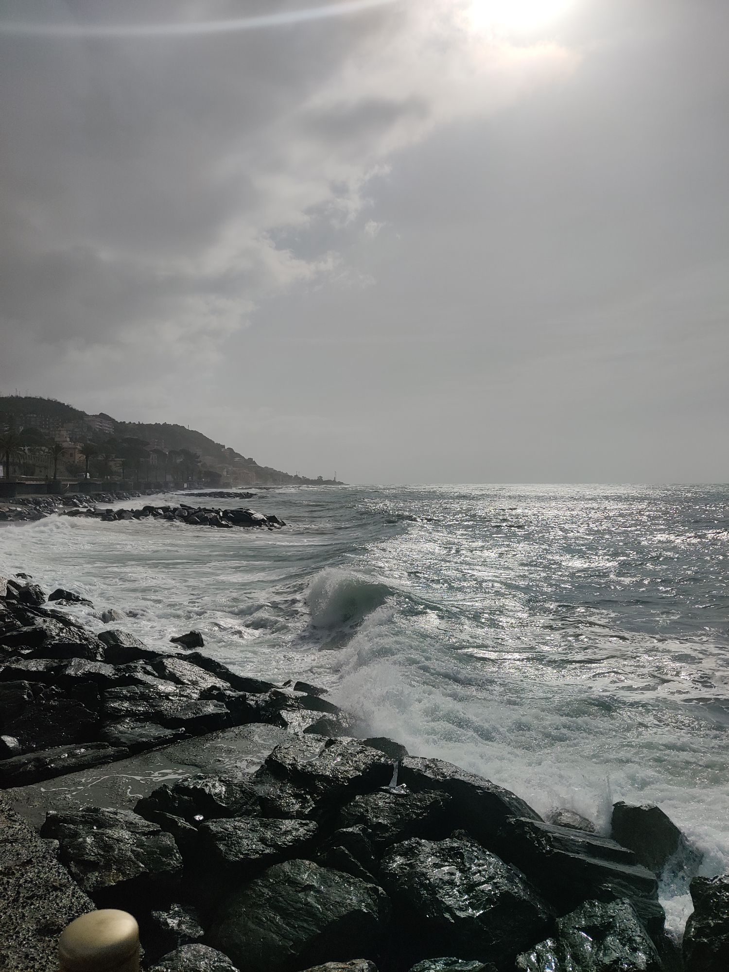 Рано утром было прохладно. В воздухе искрилась мелкая морская взвесь. Солнце, пробивающееся через тучи, отбирало цвет: фотография получалась черно-белой.
