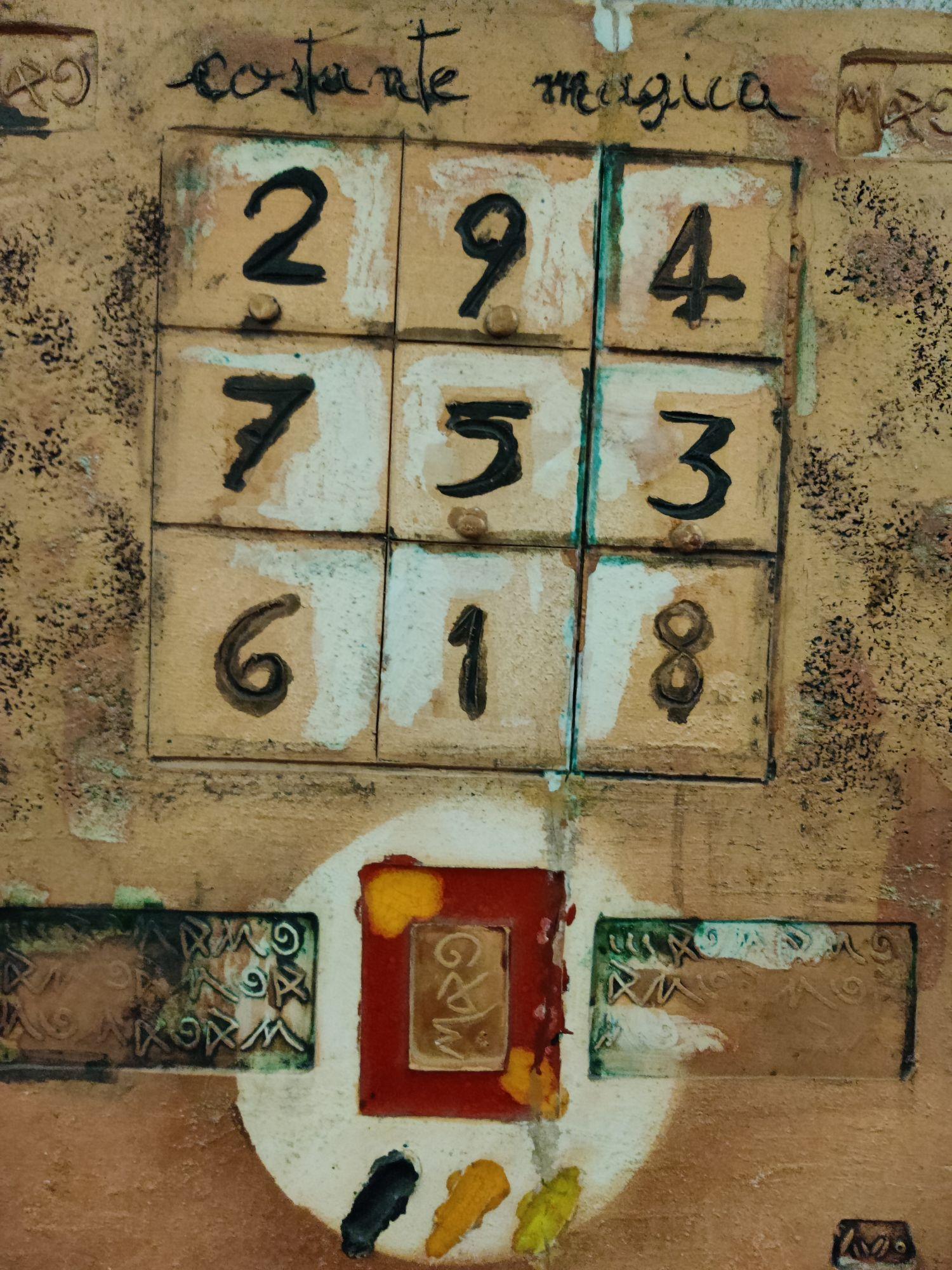 Магическая константа: сумма цифр по горизонтали, вертикали, диагонали одна.