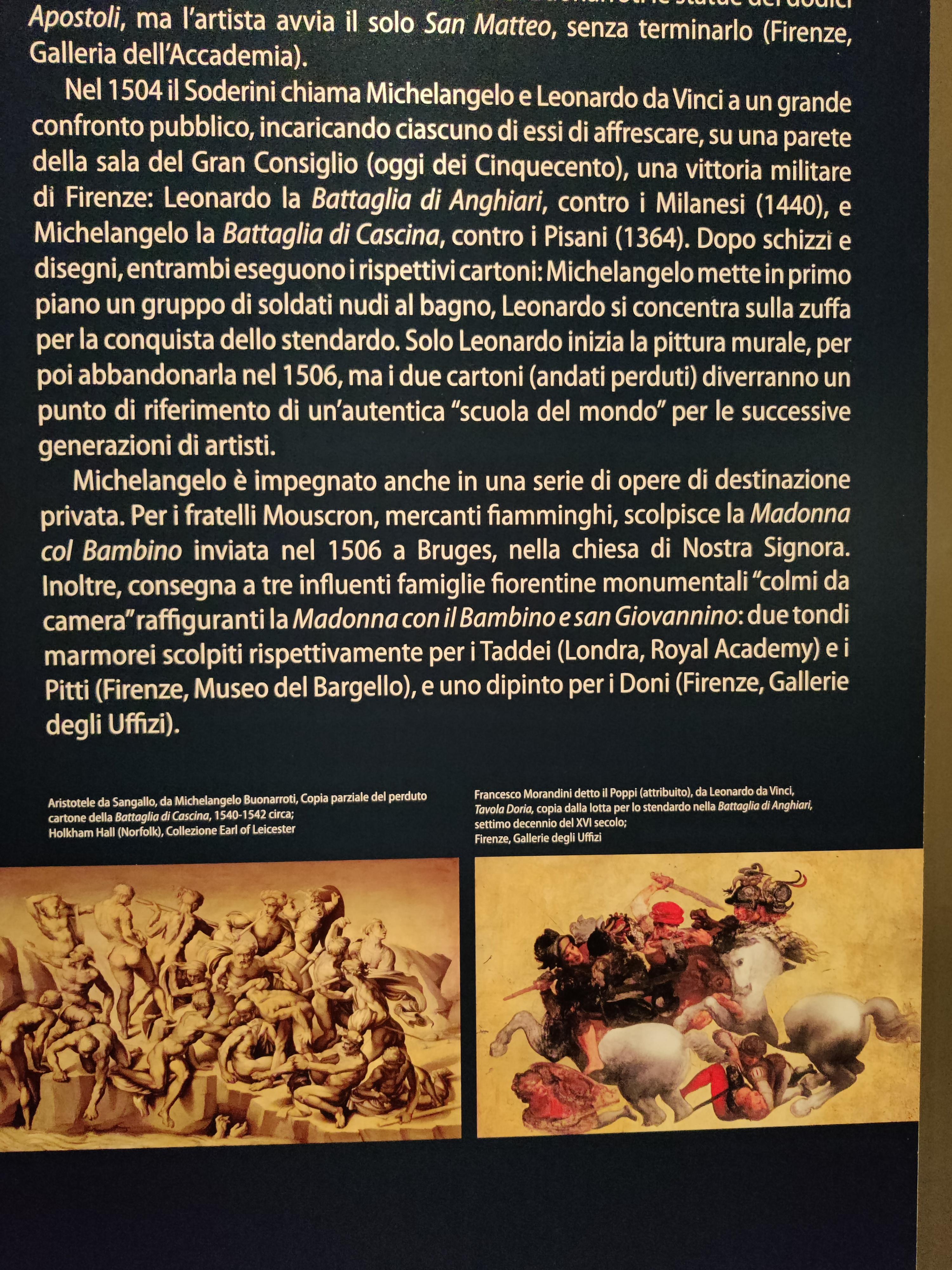 История великого соревнования между Микеланджело и Леонардо. Когда им обоим одновременно был сделан заказ на фрески: Леонардо должен был изобразить битву против миланцев при Ангиари, а Микеланджело битву против пизанцев в Кашине