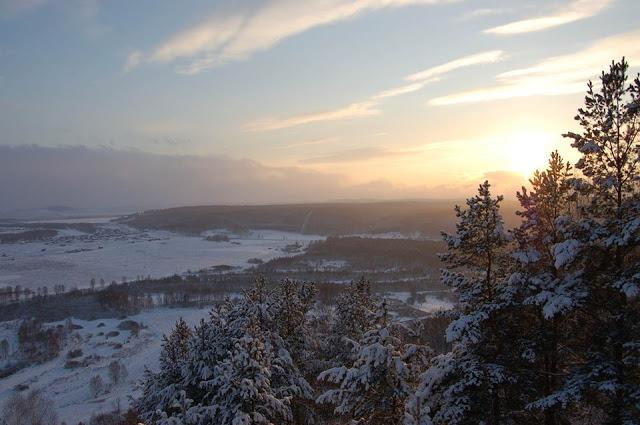 Вид на долину реки Юрюзань. Южный Урал
