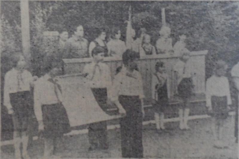 Пионеры перед торжественным маршем, 1978 год.