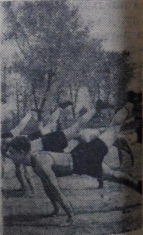 Группа юношей из 10-го класса выполняет вольные упражнения.