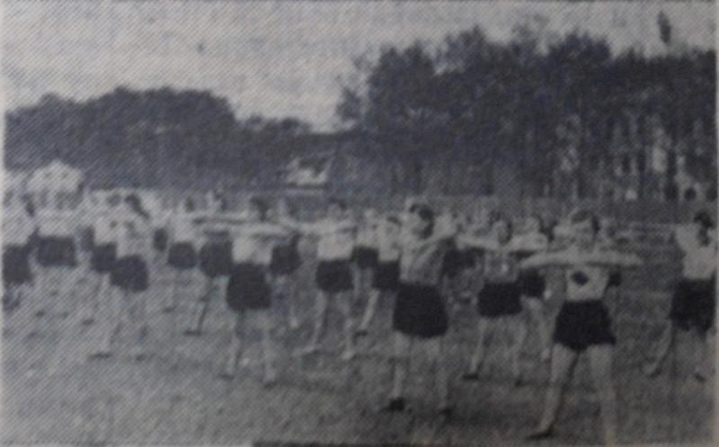 Группа девушек 8-10 классов выполняет вольные упражнения.