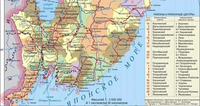 Скриншот части политико-административной карты Приморья с сайта www.raster-maps.com
