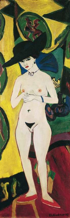 Ernst_Ludwig_Kirchner_-_Standing_Nude_with_Hat_-_Google_Art_Project