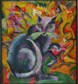 kirchner Gray Cat on a Cushion