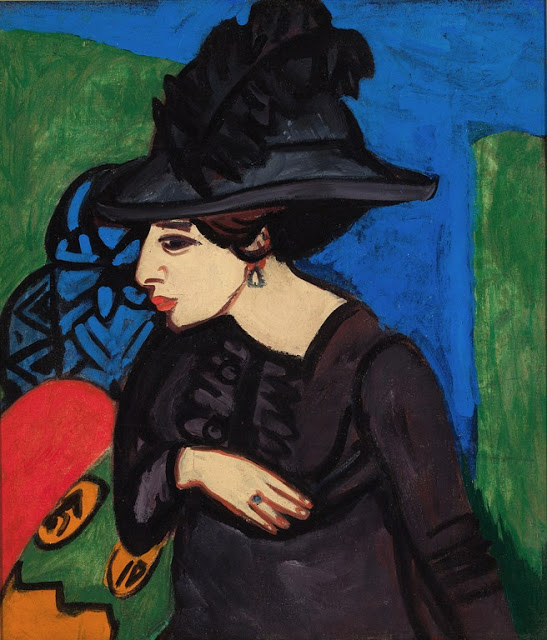1911 Ernst Ludwig Kirchner (German Expressionist, 1880-1938) Dodo with a Big Feather Hat