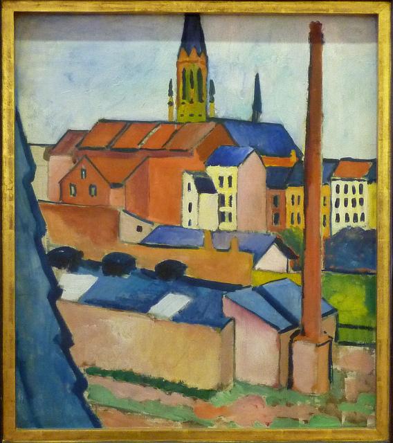 August Macke - Marienkirche in Bonn mit Häusern & Schornstein (1911)