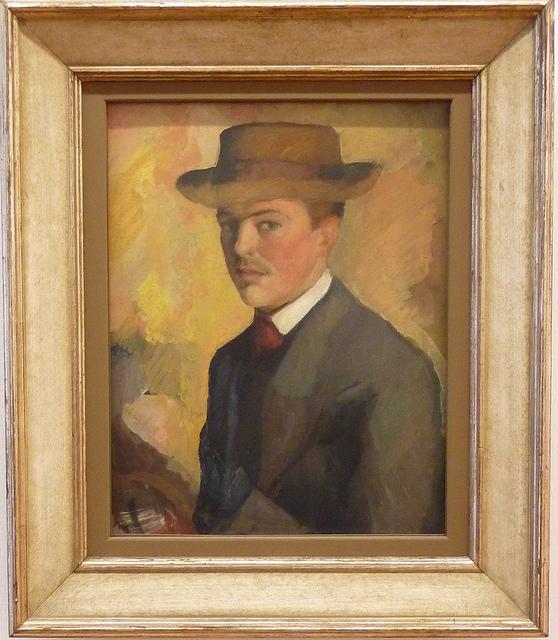 August Macke - Selbstbildnis mit Hut 1a (1909)