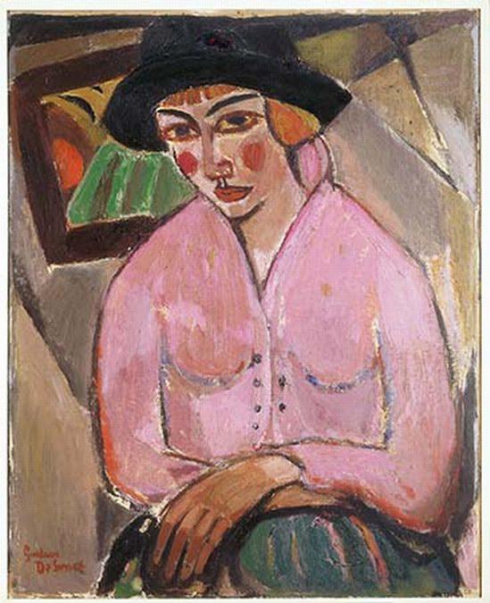 Jonge vrouw in het roze