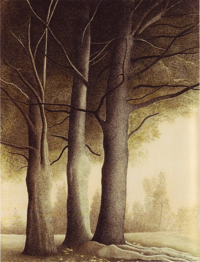 Leon Spilliaert, Three Trees, 1944 (watercolor, indian ink