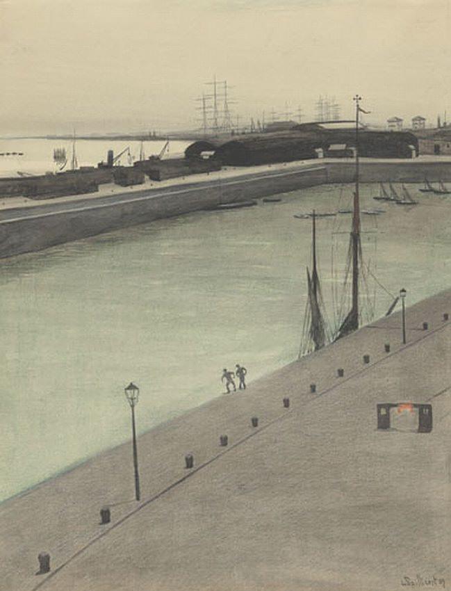 Port d'Ostende, quai avec deux figures