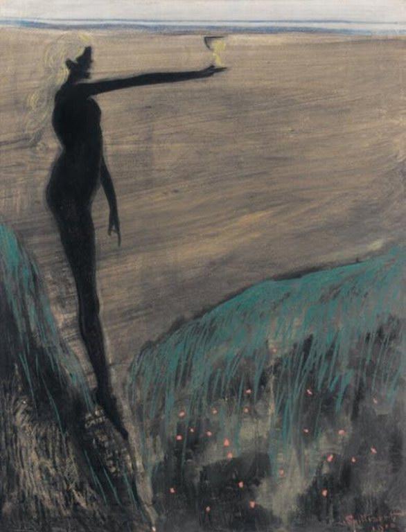 Leon Spilliaert - Femme nue tenant une coupe (c.1910)