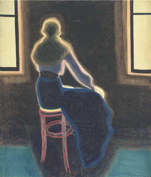 Young lady sitting on a tabouret (Jeune femme assise sur un tabouret)