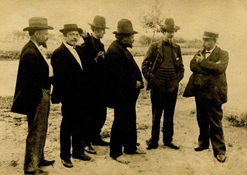 De eerste groep van Latem, vlnr Hector van Houtte, George Minne, Gustave van de Woestyne, Valerius De Saedeleer