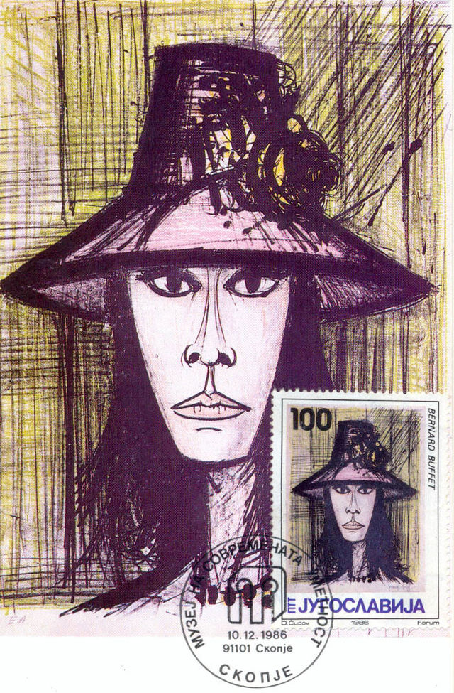 Femme_avec_un_chapeau_rose_by_Bernard_Buffet_1986_Yugoslavia_stamp.JPG