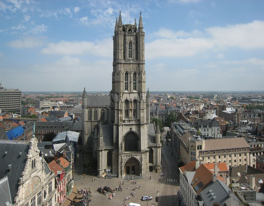 View of Saint Bavo Cathedral from the belfry of Ghent..jpg
