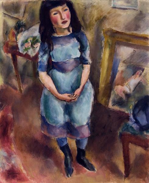 StandingGirl in Blue Dress 1914