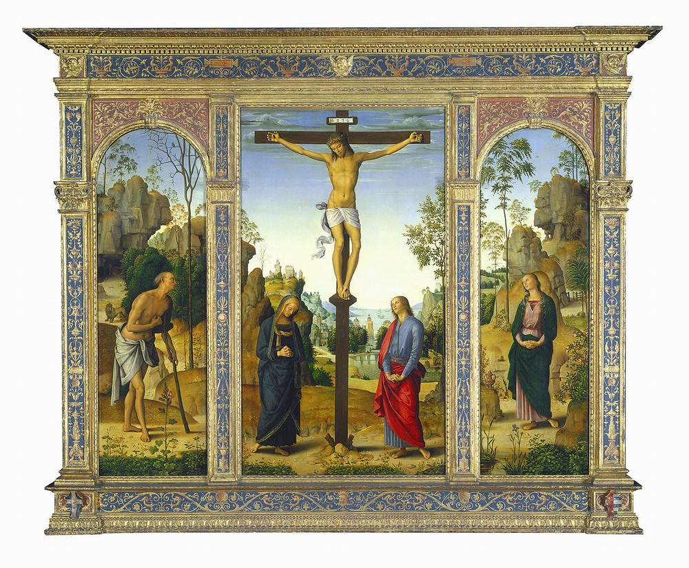 Resize of Perugino - The Crucifixion with the Virgin, Saints John, Jerome, and Mary Magdalene - Galitzin-Triptych