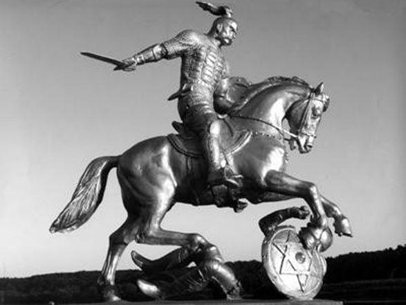 Проект пам'ятника Святославу з зіркою Давида на хозарському щиті.
