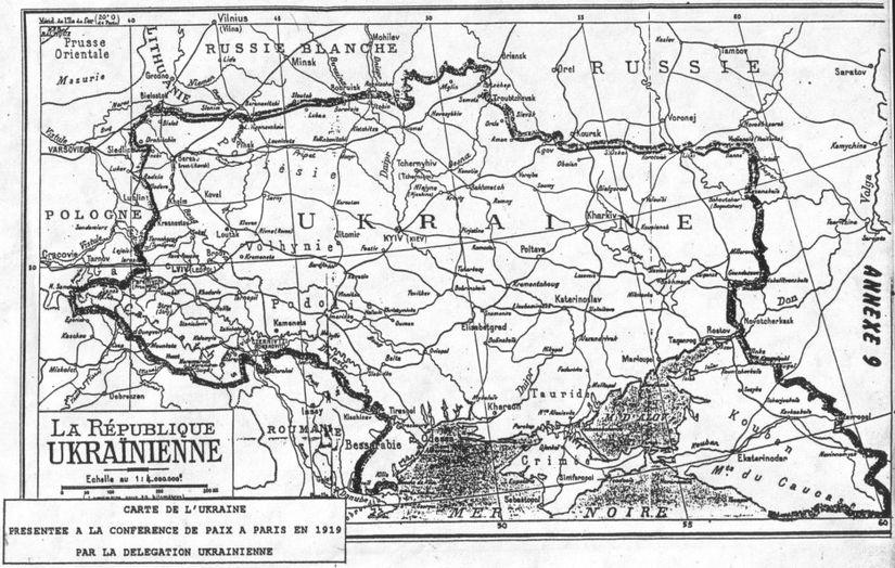 Мапа, що запропонувала делегація УНР на Паризькій мирній конференції.