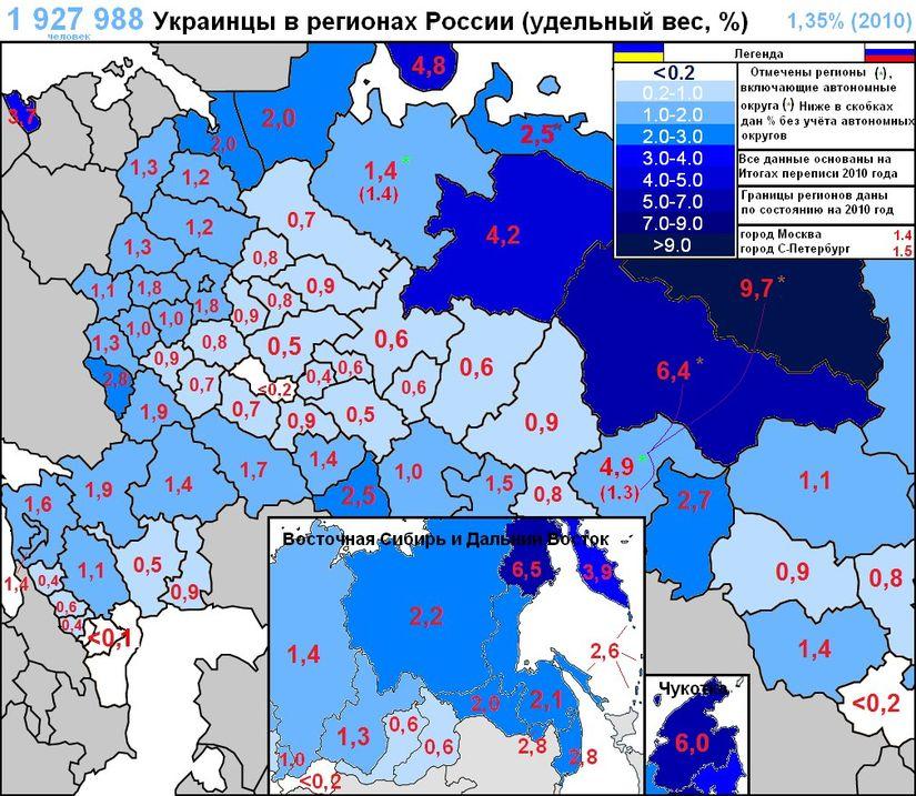 Відсоток українців в регіонах Росії 2010-го року.