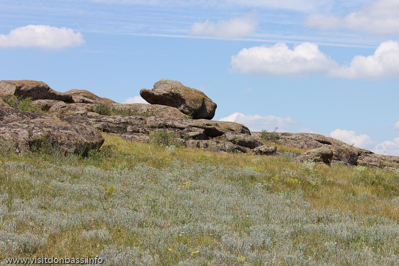 Камень похожий на слоненка в заповеднике Каменные могилы