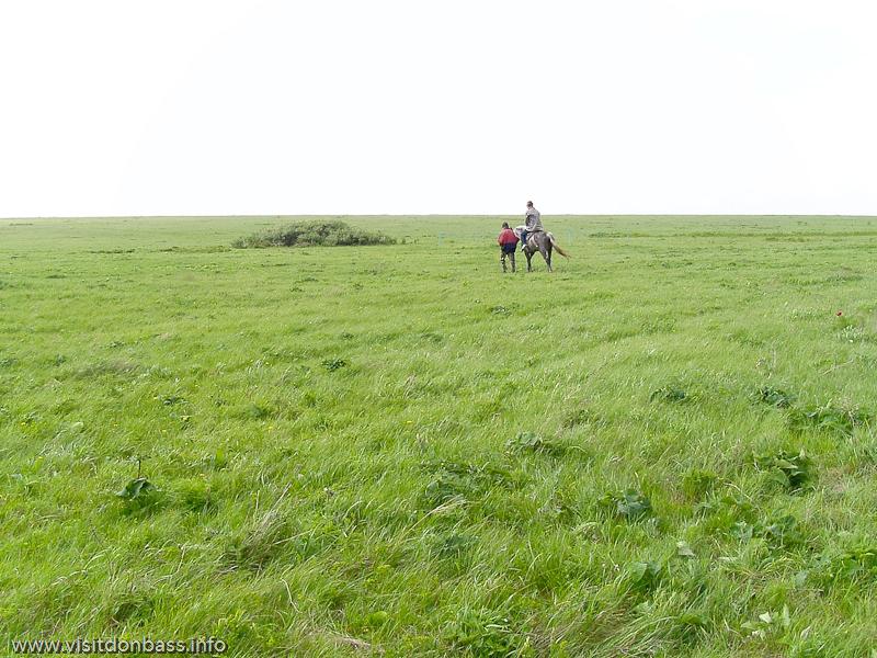 Конные прогулки - одно из основных развлечений для туристов в Хомутовской степи