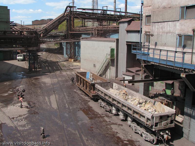 Металлургический завод Донецксталь. Готовая продукция и опасное производство. Железнодорожный путь
