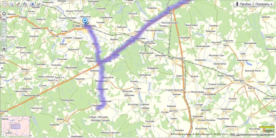 Карта Спас-Деменский район