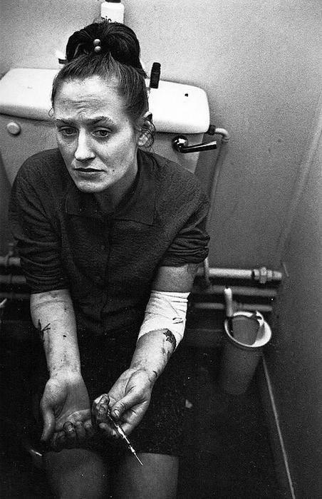 Heroin Addict on the Toilet by Mary Ellen Mark, London, UK '1969
