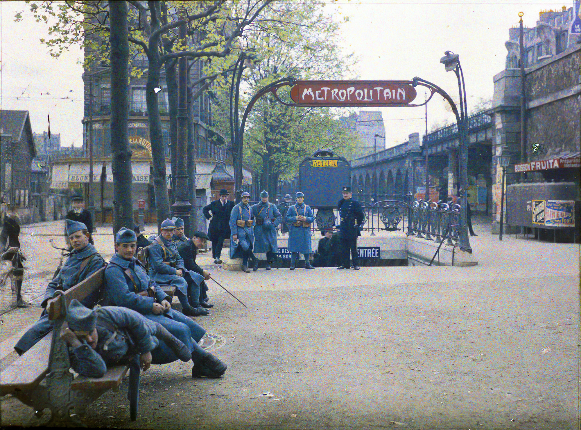 1920 On May Day soldiers guarding the Auteuil Metro station on the Boulevard Exelmans in Paris by Gadmer1