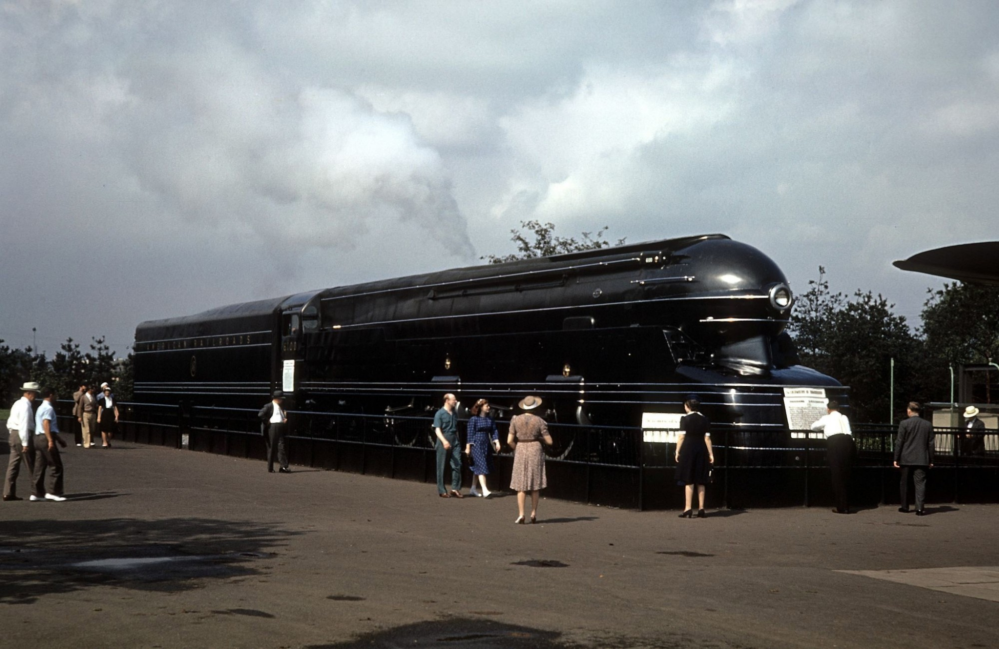 1940 view of the PRR S1 class steam locomotive (nicknamed 'The Big Engine' and designed by Raymond Loewy) on display at the 1939 New York World's Fair