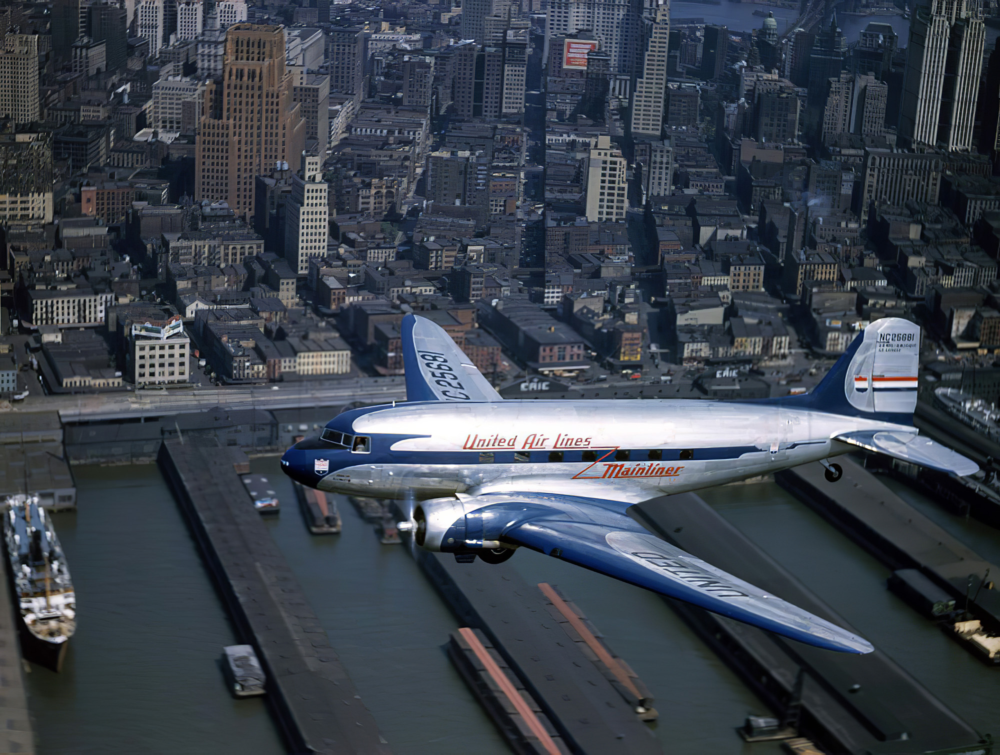 1940 A United Airlines Mainliner flies through the air by Luis Marden3