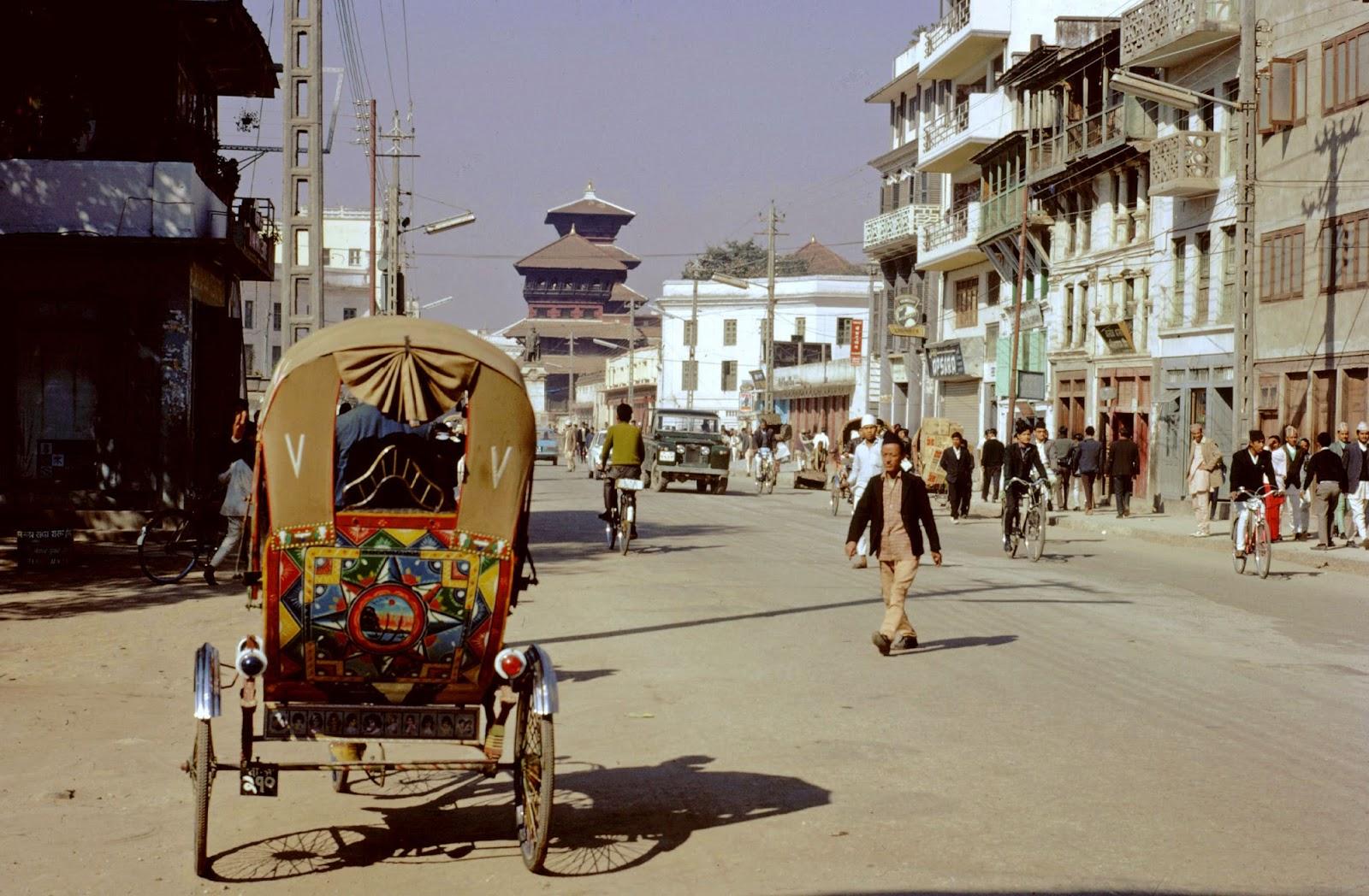 1970 Kathmandu, rickshaw in city street
