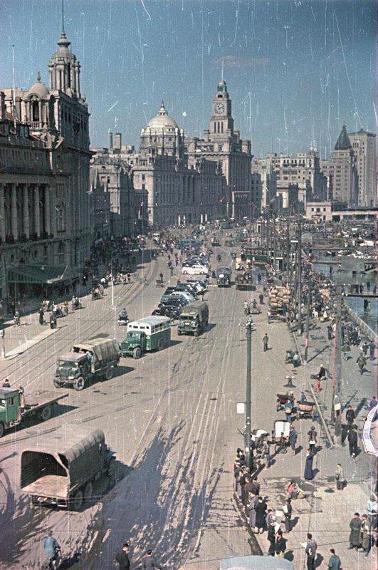 1949 Shanghai. Набережная реки Вампу - Вайтань. Деловой район Шанхая